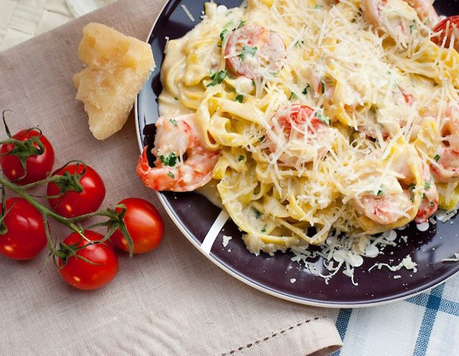 Pasta with shrimp and cream sauce from Alexander Belkovich