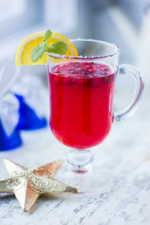 Hot drink with cranberries and spices