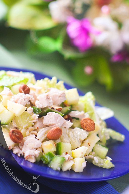 Salad with chicken, cucumber and walnuts