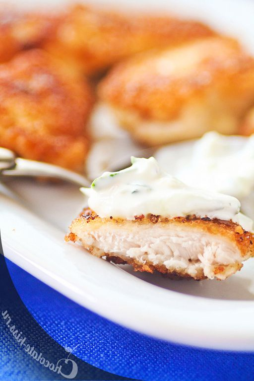 Chicken nuggets with cucumber cream sauce