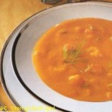 Tomato soup with prawns